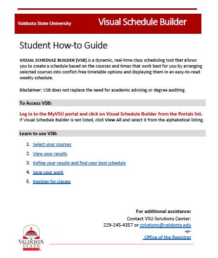 visual schedule builder valdosta state university