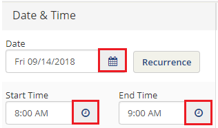 Select the date and time of your event