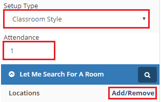 Select a setup type and enter the number of attendees
