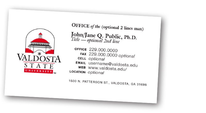 how to order business cards valdosta state