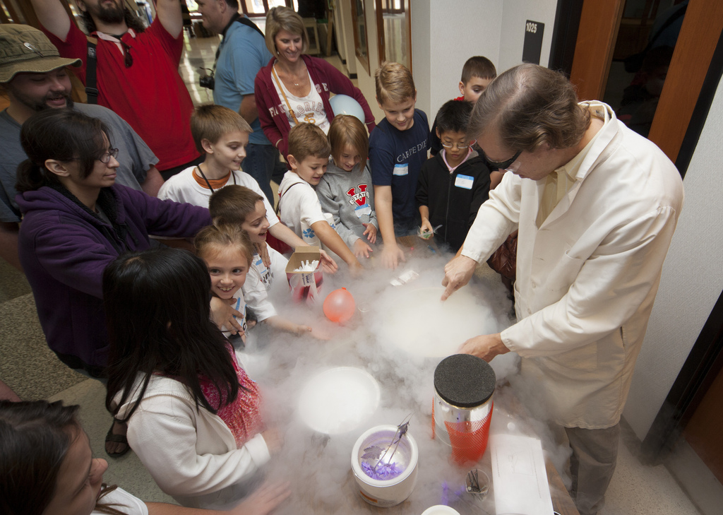 Children watch science demonstration
