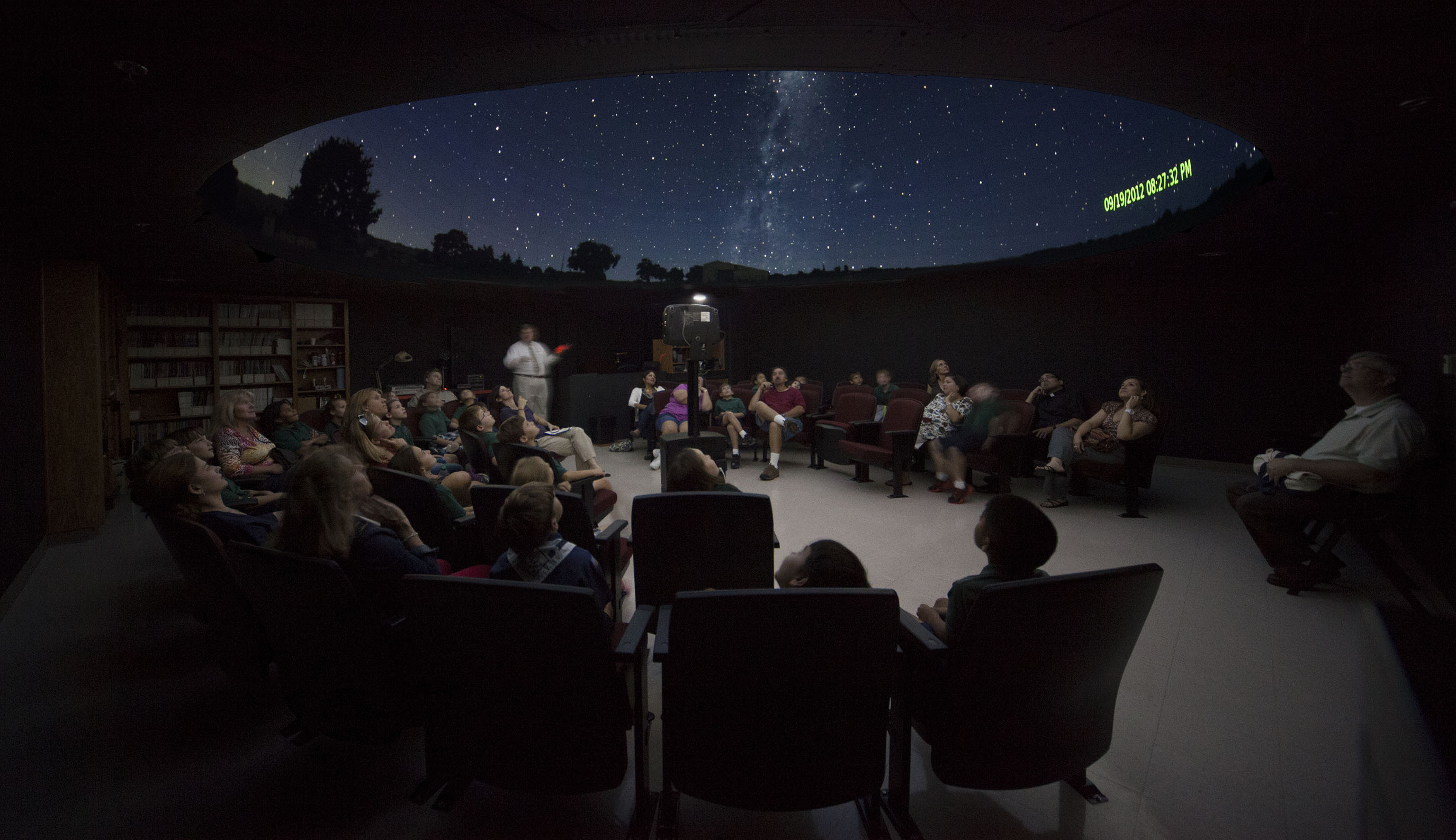 Dr. Kenneth Rumstay presents a program in the planetarium.
