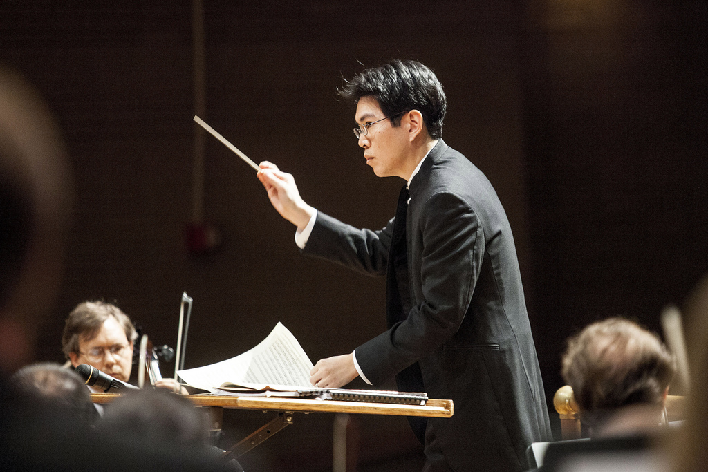 Music Director Howard Hsu conducts the Valdosta Symphony Orchestra