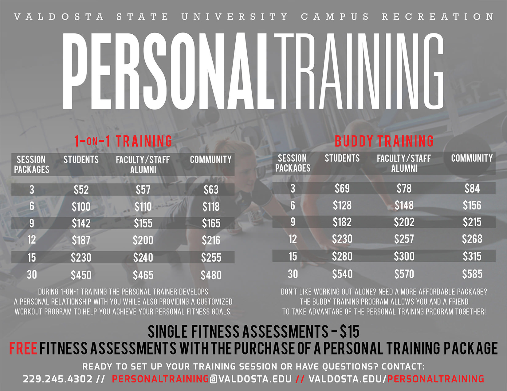 Personal training valdosta state university personal training prices 1betcityfo Gallery